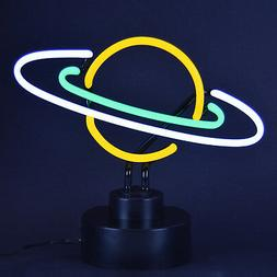 Real Neon sign Sculpture Saturn Ringed planet  table top lam