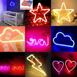 Romantic Lightning Heart Moon Star Led Neon Sign Wall Night