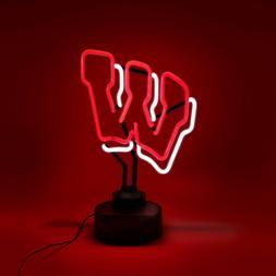 WISCONSIN BADGERS NEON SIGN LIGHT TABLE TOP LAMP UNIVERSITY