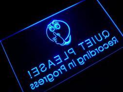 ADV PRO m096-b Recording in Progress Quiet Please Neon Sign