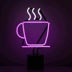 Amped & Co Coffee Cup Neon Table Light, Real Neon Cafe Sign,