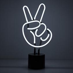 Amped & Co, Peace Sign Neon Light, White, Desk Lamp Decor, L