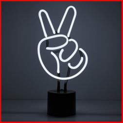 Amped & Co Peace Sign Real Neon Light Indoor Desk Lamp LARGE