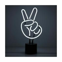 Amped & Co Peace Sign Real Neon Light Indoor Desk Lamp, Larg