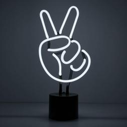 Amped  Co Peace Sign Real Neon Light Indoor Desk Lamp Large
