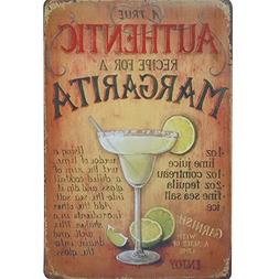 AUTHENTIC MARGARITA COCKTAIL Metal Tin Neon Sign Vintage Pla