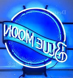 "Desung 19""x15"" Blue Moon Neon Sign Light HD Vivid Printing T"