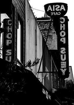 18 x 24 B&W Photo of Neon sign advertising chop suey at an A