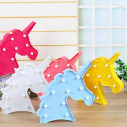 Baby Kids LED Night Lights Unicorn Neon Wall Sign Lamps Bedr