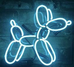 "Balloon Dog Neon Sign Bar Decor Gift 14""x10"" Light Lamp Blue"