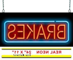 "Brakes Neon Sign | Jantec | 24"" x 11"" | Automotive Car Tune-"