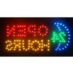 Bright 24 Hours Open Sign Flashing LED Neon Animated Busines