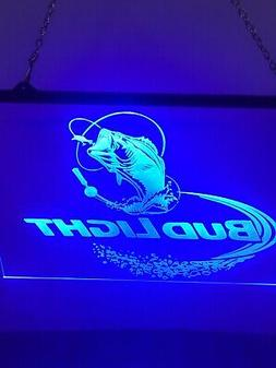 Bud Light Fishing Led Neon Sign Game Room ,  Bar , garage Si