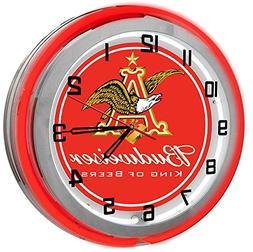 "Budweiser King Of Beers 18"" Red Double Neon Garage Clock fro"