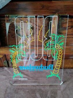 Budweiser Neon On Acrylic Sign, Palm Trees Beach Scene, Red