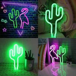 LED Cactus Neon Light Sign Wall Decor Night Lights Home Deco