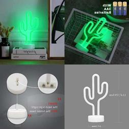 Cactus Neon Signs LED Light Sign W Holder Base Battery Power