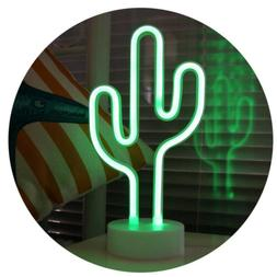 Cactus Neon Signs With Base LED Neon Lights USB Battery for