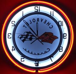 "Chevy Corvette 18"" Double Neon Clock Service Parts Dealer Ga"
