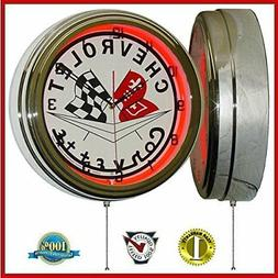 """Chevy Corvette Flags 15"""" Neon Light Clock Sign Red"""