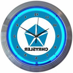 "CHRYSLER BLUE PENTASTAR 15"" Neon Wall Clock Neonetics 8CRYBL"