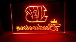 Cincinnati Bengals Neon ORANGE LED Light Sign Budweiser Bar