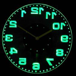 cnc2007-g Round Modern Numerals Illuminated Wall Neon Clock