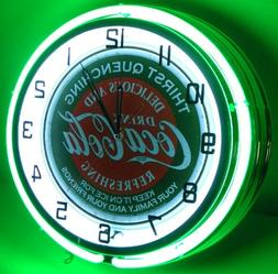 "COCA COLA 18"" DOUBLE NEON LIGHT CHROME CLOCK BOTTLE SIGN DIS"