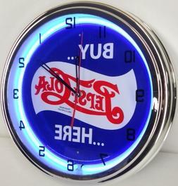 "BUY PEPSI COLA HERE 15"" NEON LIGHT WALL CLOCK POP SHOP BAR V"