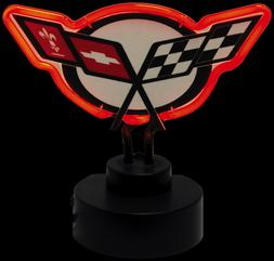 CORVETTE BAR TOP TABLE TOP C5 CROSS FLAGS NEON SIGN NEW RED