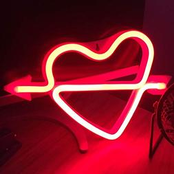 Cupid's Bow Shape Neon Light Romantic LED Heart Night Lamps