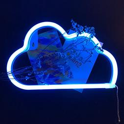 Cute Blue Neon Light,LED Cloud Sign Shaped Decor Light,Marqu