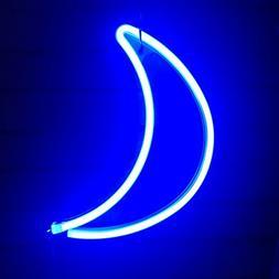 Cute Blue Neon Light,LED Moon Sign Shaped Decor Light,Marque