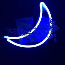 Decorative LED Neon Signs Crescent Moon Light Blue Wall Up A