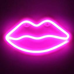 OYE HOYE Decorative LED Lip Shaped Neon Night Light, Neon Si