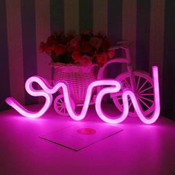 decorative love shaped neon night