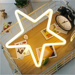 Decorative LED Neon Light, EONSMN Star Sign Shaped Night Lig