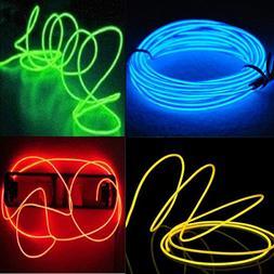 4-Pack 5M 15ft El wire Neon Glowing Strobing Electroluminesc