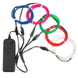 Zitrades EL Wire Neon Lights Kit  with Portable AA Battery I