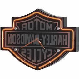 Harley-Davidson Etched Bar & Shield Shaped Neon Clock HDL-16
