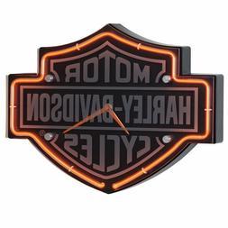 Harley-Davidson Etched Bar & Shield Shaped Neon Clock HDL-16