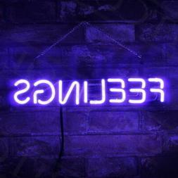 "Neon Sign ""FEELING""Beer Bar Pub Home Room Wall Purple Decor"