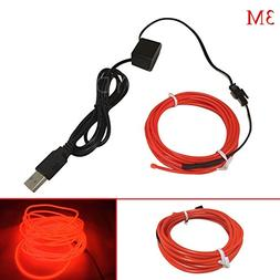 Your Supermart 5M Flexible EL Wire Neon LED Strip USB Glow T
