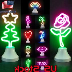 Flower LED Neon Sign Rainbow Flamingo Night Light Christmas