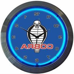 "Ford Mustang Cobra Blue Neon Hanging Wall Clock 15"" Diameter"