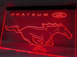 Mustang Led Sign Light Red