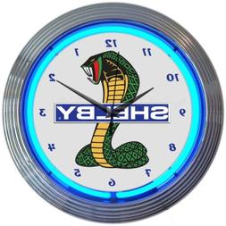 Neonetics Ford OLP Shelby Cobra Mustang Blue Neon Clock 15 I