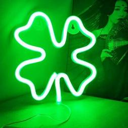 Four-Leaf Clover LED Neon Signs Lights for Wall Decor, Neon