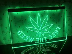 Free The Weed High Life Led Light Up Sign Neon Bar Pub Room