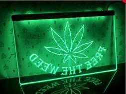 Free The Weed LED Neon Sign Home Light Up Drink Studio gange